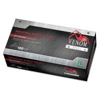 Medline Venom Steel Industrial Nitrile Gloves, Large, Black, 6 mil, 100/Box MIIVEN6143