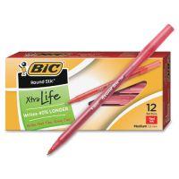 BIC Round Stic Xtra Life Ballpoint Pen, Red Ink, 1mm, Medium, Dozen BICGSM11RD