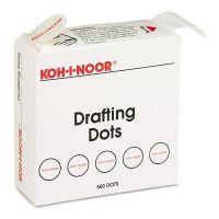 Koh-I-Noor Adhesive Drafting Dots w/Dispenser, 7/8in dia, White, 500/Box KOH25900J01