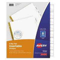 Avery Insertable Big Tab Dividers, 8-Tab, Clear Tab, Letter, 1 Set AVE11124