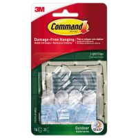 Command All Weather Hooks and Strips, Plastic, Small, 16 Clips & 20 Strips/Pack MMM17017CLRAWES