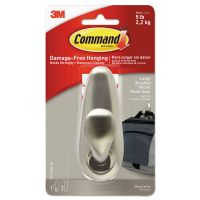 Command Adhesive Mount Metal Hook, Large, Brushed Nickel Finish, 1 Hook & 2 Strips/Pack MMMFC13BNES