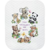 Dimensions Baby Hugs Baby Animals Quilt Stamped Cross Stitch Kit NOTM299080