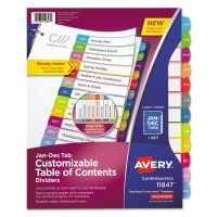 Avery Ready Index Table of Contents Dividers, Multicolor Tabs, Jan-Dec, Letter AVE11847