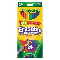 Crayola Erasable Colored Woodcase Pencils, 3.3 mm, 24 Assorted Colors/Box CYO682424