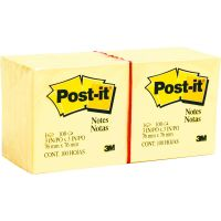 Post-it Notes Original Pads in Canary Yellow, 3 x 3, 100-Sheet, 12/Pack MMM654YW