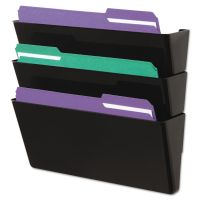 Universal Wall File, Three Pocket, Plastic, Black UNV08121