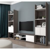 Bestar Small Space 3-Piece TV Stand and 2 Storage Towers Set in Bark Gray and White BESBES1685347