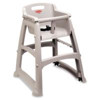 Rubbermaid Commercial Sturdy Chair Youth Seat, Wheels, Plastic, 23 3/8w x 23 1/2d x 29 3/4h, Platinum RCP780508PLA