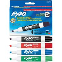 EXPO Low Odor Dry Erase Marker, Chisel Tip, Basic Assorted, 4/Set SAN80074