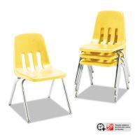 "Virco 9000 Series Classroom Chairs, 16"" Seat Height, Yellow/Chrome, 4/Carton VIR901647"