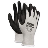 MCR Safety Economy Foam Nitrile Gloves, Medium, Gray/Black, 12 Pairs CRW9673M