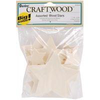 Darice Craftwood Assorted Wood Stars NOTM351156