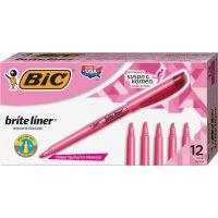 BIC Brite Liner Highlighter, Chisel Tip, Fluorescent Pink, Dozen BICBL11PK