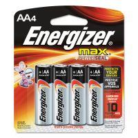 Energizer MAX Alkaline Batteries, AA, 4 Batteries/Pack EVEE91BP4