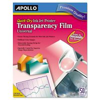 Apollo Quick-Dry Color Inkjet Transparency Film, Letter, Clear, 50/Box APOCG7033S