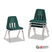 "Virco 9000 Series Classroom Chairs, 12"" Seat Height, Forest Green/Chrome, 4/Carton VIR901275"