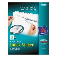 Avery Print & Apply Clear Label Dividers, 5-Tab, White Tab, Letter, 25 Sets AVE11446