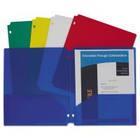 C-Line Two-Pocket Heavyweight Poly Portfolio Folder, 3-Hole Punch, Assorted Colors, 10/Pack CLI32930