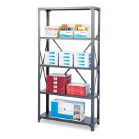 Safco Commercial Steel Shelving Unit, Six-Shelf, 36w x 18d x 75h, Dark Gray SAF6269