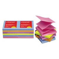 Universal Fan-Folded Self-Stick Pop-Up Note Pads, 3 x 3, Assorted Bright, 100-Sheet, 12/PK UNV35611