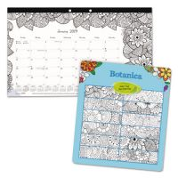 Blueline DoodlePlan Desk Calendar w/Coloring Pages, 17 3/4 x 10 7/8, 2019 REDC2917001