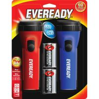Eveready LED Economy Flashlight, Red/Blue, 2/Pack EVEL152S