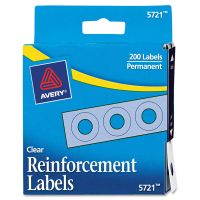 """Avery Dispenser Pack Hole Reinforcements, 1/4"""" Dia, Clear, 200/Pack AVE05721"""