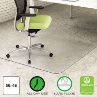 deflecto EnvironMat Recycled Anytime Use Chair Mat for Hard Floor, 36 x 48, Clear DEFCM2G142PET