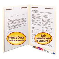 Smead End Tab Fastener Folders w/Reinforced Tab, 2 Fasteners, Letter, Manila, 50/BX SMD34215