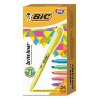 BIC Brite Liner Highlighter, Chisel Tip, Assorted Colors, 24/Set BICBL241AST