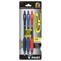 Pilot G2 Premium Retractable Gel Ink Pen, Refillable, Assorted Ink, .7mm, 3/Pack PIL31023