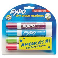 EXPO Low Odor Dry Erase Marker, Chisel Tip, Classic Colors Assorted, 4/Set SAN81029