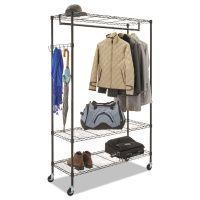 Alera Wire Shelving Garment Rack, Coat Rack, Stand Alone Rack, Black Steel w/Casters ALEGR364818BL