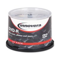 Innovera DVD-R Discs, 4.7GB, 16x, Spindle, Silver, 50/Pack IVR46850