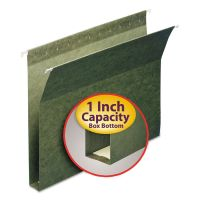 """Smead 1"""" Capacity Box Bottom Hanging File Folders, Letter, Green, 25/Box SMD64239"""