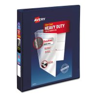 """Avery Heavy-Duty 3-Ring View Binder w/Locking 1-Touch EZD Rings, 1"""" Capacity, Navy Blue AVE79809"""