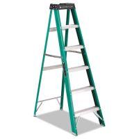 Louisville #592 Folding Fiberglass Step Ladder, 6 ft, 5-Step, Green/Black DADFS4006