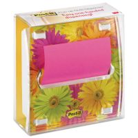 Post-it Pop-up Notes Clear Top Pop-up Note Dispenser, Daisy Insert, 3 x 3 Fuschia/Canary Pad, Black MMMDS330LSP