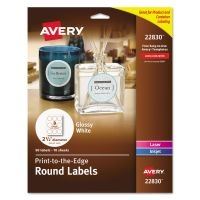 "Avery Round True Print Labels, 2 1/2"" dia, White, 90/Pack AVE22830"