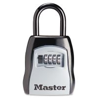 Master Lock Locking Combination 5 Key Steel Box, 3 1/4w x 1 5/8d x 4h, Black/Silver MLK5400D