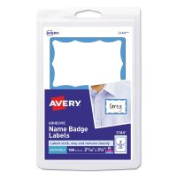 Avery Printable Self-Adhesive Name Badges, 2 1/3 x 3 3/8, Blue Border, 100/Pack AVE5144