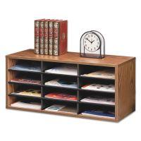 Fellowes Particle Board Desktop Sorter, 12 Section, 29 x 11 7/8 x 12 15/16, Medium Oak FEL25400