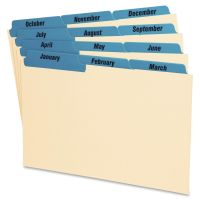 Oxford Laminated Tab Index Card Guides, Monthly, 1/3 Tab, Manila, 5 x 8, 12/Box OXF05813