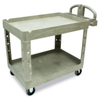 Rubbermaid Commercial Heavy-Duty Utility Cart, Two-Shelf, 25 9/10w x 45 1/5d x 32 1/5h, Beige RCP452088BG