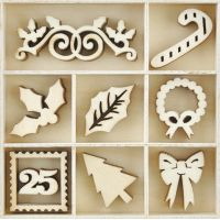 Themed Mini Wooden Flourishes 45/Pkg NOTM035458