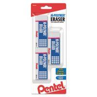Pentel Hi-Polymer Block Eraser, White, 3/Pack PENZEH10BP3K6