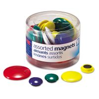 Officemate Assorted Magnets, Circles, Assorted Sizes & Colors, 30/Tub OIC92500