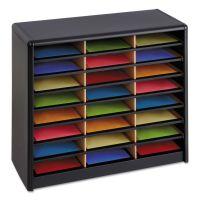 Safco Steel/Fiberboard Literature Sorter, 24 Sections, 32 1/4 x 13 1/2 x 25 3/4, Black SAF7111BL