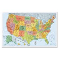 Rand McNally U.S. Physical/Political Map, Dry Erase, Single Roller Mounted, 50 x 32 AVTRM528012762